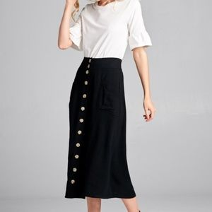 Black Midi Skirt with Buttons